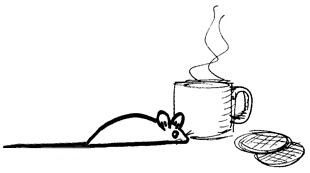 Mouse and cup of tea illustration